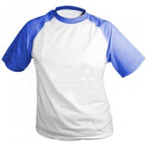 Футболка О-горло, СИНИЕ рукава, синтетика/хлопок