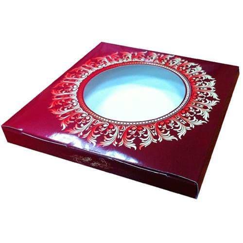 """Коробка подарочная для тарелки с окном """"Бордовый винтаж"""""""