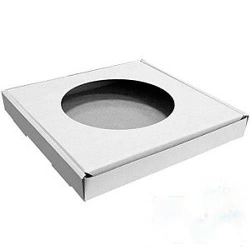 Коробка для тарелки белая с круглым отверстием