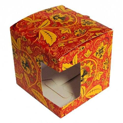 """Подарочная коробка для кружки с окном """"Хохлома"""""""
