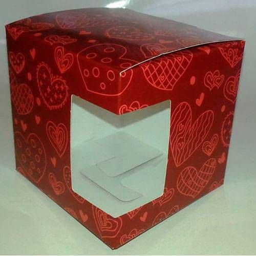 """Подарочная коробка для кружки с окном """"Сердечки"""""""