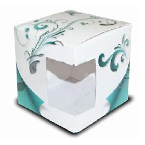 """Подарочная коробка для кружки с окном """"Воздушный голубой узор"""""""