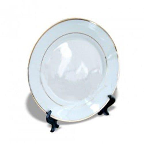 Тарелка каёмка с золотыми полосками d=20см