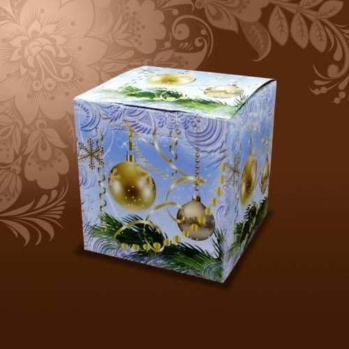 """подарочная коробка для кружки  """"елочные шары"""" коробки для кружек"""