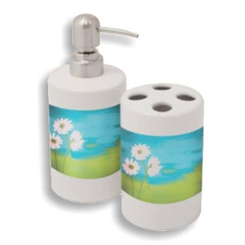 Набор для ванной керамический (подставка для щеток, дозатор для мыла)