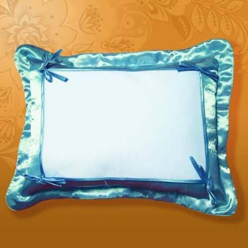Подушка белла 45*35 голубая,на пуговицах