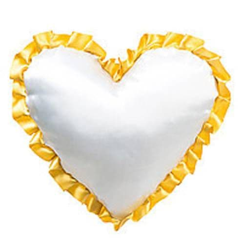 Подушка с наволочкой в виде сердца 38*38 см ЖЕЛТАЯ