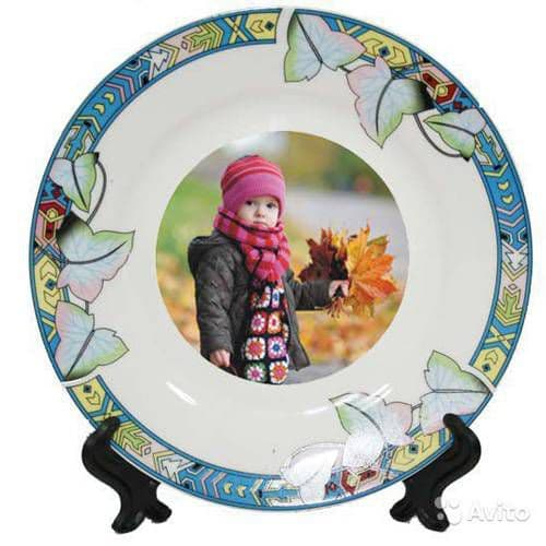 тарелка d=20 см, каёмка листья фототарелки