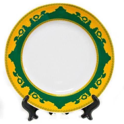 Тарелка d=20 см,каёмка зеленая с золотом