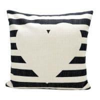 Подушка льняная 40*40 черно-белые полоски