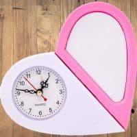 """Часы для сублимации бело/розовые """"Сердце"""""""