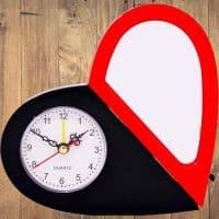 Часы для сублимации черно-красные (сердце)