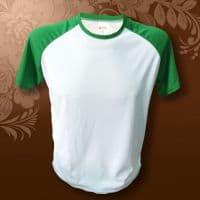 Футболка О-горло,зеленые рукава, синтетика/хлопок