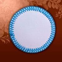 Магнит текстильный круглый голубая кайма