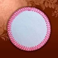 Магнит текстильный круглый розовая кайма