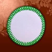 Магнит текстильный круглый зеленая кайма