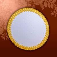 Магнит текстильный круглый желтая кайма