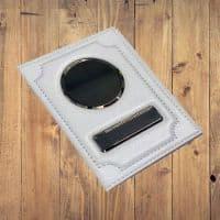Именная обложка на автодокументы флоттер белая из натуральной кожи