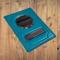 Именная обложка на автодокументы флоттер бирюзовая из натуральной кожи
