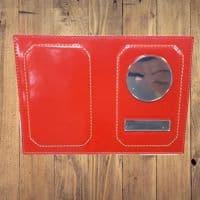 Именная обложка для автодокументов красная кожзам
