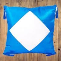 Подушка голубая АТЛАС с белым полем и кисточками