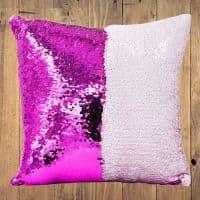 Подушка розово/белая с пайетками
