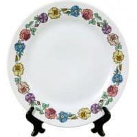 Тарелка белая каемка с рисунком цветы