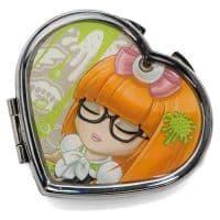 Зеркальце макияжное металлическое в виде сердца 4.6х3.5см