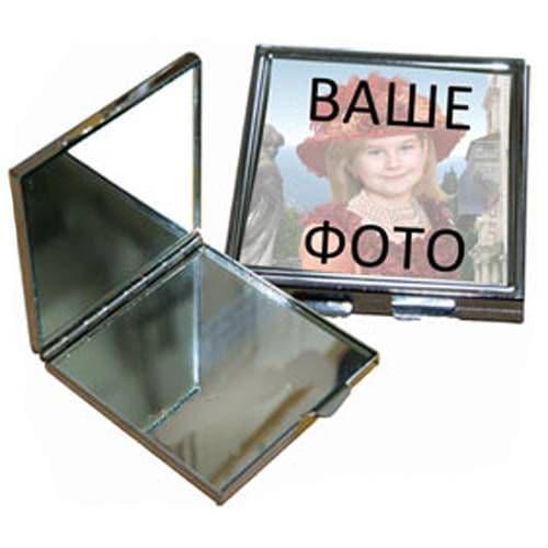 Зеркальце макияжное металлическое прямоугольное 60*65мм