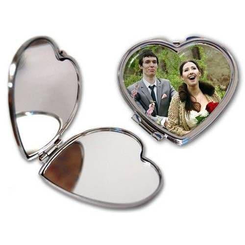 Зеркальце металлическое в виде сердца 7х6.5см