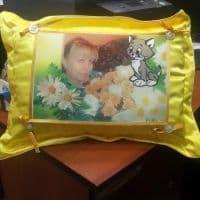 Фотоподушка желтая с фартуком