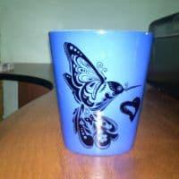 Кружка латте хамелеон синяя_2