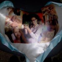 Подушка сердце голубое с фото_1
