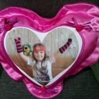Подушка розовая сердце с фартуком