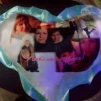 Подушка сердце голубое с фото_2